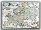 Coronelli, Vincenzo: Map of Europe. Antique/Vintage 17th Century Map. Fine Art Canvas. Sizes: A4/A3/A2/A1 (003885)